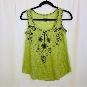 Women's Roper Green Embroidered Tank Top Size XS